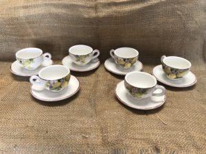 Set 6 tazzine da caffè decorate